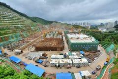 Base de la construcción del metro, Shenzhen, China Imagen de archivo