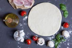 Base de la pasta con e ingredientes para las setas de la pizza, tomates, jamón, mozzarella, aceite, albahaca en el fondo gris imagenes de archivo