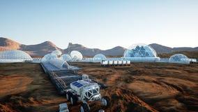 Base de Mars, colonie Expédition sur la planète étrangère Silhouette d'homme se recroquevillant d'affaires Capsyles de Geo la dur illustration stock