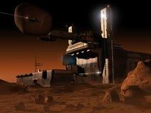 Base del espacio en el planeta Marte Imagen de archivo libre de regalías