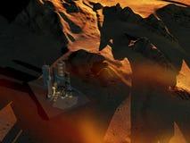 Base del espacio en el planeta Marte Fotos de archivo libres de regalías