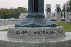 Base del indicador en el monumento de WWII Imagen de archivo libre de regalías