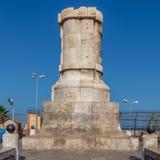 Base della statua di Ferdinand de Lesseps, entrata del canale di Suez, Port Said, Egitto fotografia stock