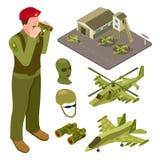 Base delle forze aeree militare isometrica con l'elicottero, aereo da caccia, illustrazione di vettore dei soldati royalty illustrazione gratis