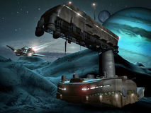 Base dello spazio sul pianeta ghiacciato Fotografia Stock Libera da Diritti