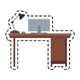 100 BASE. Desk with computer and lamp office supplies icon image vector illustration design Royalty Free Stock Photos