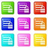 Base di dati con l'insieme delle icone 9 del lucchetto Immagine Stock