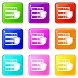 Base di dati con l'insieme grigio delle icone 9 dello schermo Fotografia Stock Libera da Diritti