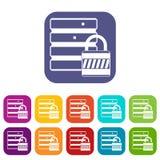 Base di dati con le icone del lucchetto messe Immagini Stock