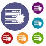 Base di dati con le icone grige dello schermo messe Immagine Stock