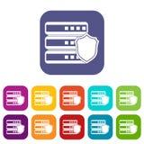 Base di dati con le icone grige dello schermo messe Fotografie Stock Libere da Diritti
