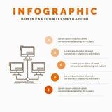 base di dati, distribuita, collegamento, rete, modello di Infographics del computer per il sito Web e presentazione Linea icona g illustrazione vettoriale
