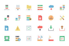 Base di dati ed icone 1 di vettore colorate server Immagine Stock Libera da Diritti