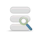 Base di dati isolata con la lente Fotografia Stock