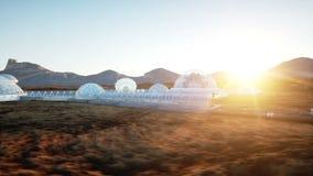Base di Marte, colonia Spedizione sul pianeta straniero Siluetta dell'uomo Cowering di affari Capsyles di Geo Vita su Marte