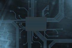Base digital coloreada del chip de ordenador foto de archivo