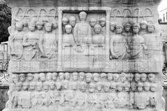 Base do Obelisk de Theodosius O obelisco é o obelisco egípcio antigo no hipódromo de Constantinople fotos de stock royalty free