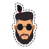100 BASE. Face of handsome hipster young man icon image vector illustration design Royalty Free Stock Photo