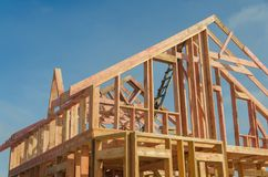 Construction of wooden frame house. Base, frame of a wooden house, racks and partitions Stock Images