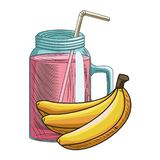 Base Fresh fruit nutrition healthy hand drawn. Fresh fruit nutrition healthy grouped juice glass and bananas fitness diet options vector illustration graphic vector illustration