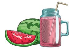 Base Fresh fruit nutrition healthy hand drawn. Fresh fruit nutrition healthy grouped juice glass and watermelon fitness diet options vector illustration graphic royalty free illustration