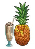 Base Fresh fruit nutrition healthy hand drawn. Fresh fruit nutrition healthy grouped milkshake and pineapple fitness diet options vector illustration graphic royalty free illustration