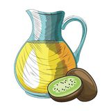 Base Fresh fruit nutrition healthy hand drawn. Fresh fruit nutrition healthy grouped orange juice jar and kiwi fitness diet options vector illustration graphic royalty free illustration