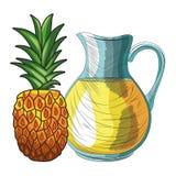 Base Fresh fruit nutrition healthy hand drawn. Fresh fruit nutrition healthy grouped pineapple and orange juice jar fitness diet options vector illustration royalty free illustration