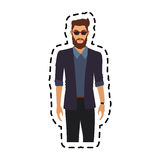 100 BASE. Handsome young man half body  icon image vector illustration design Stock Photo