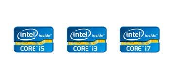 Base i3, i5, logotipos de Intel del chipset i7 ilustración del vector
