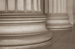 Base of Ionic Columns. On historic building royalty free stock photography