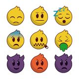 Set emoji with lines edge vector illustration