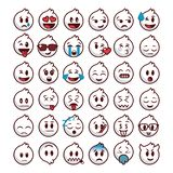 White emoji set with lines edge vector illustration