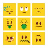Square faces emoji background stock illustration