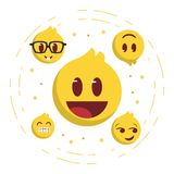 Best yellow emoji faces set stock illustration