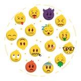 Emoji backgrund in round set royalty free illustration