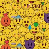 Popular and beautiful emoji background pattern. Chat emoji sticker stock illustration
