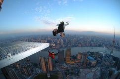 BASE jump Shanghai at sunrise Royalty Free Stock Photography