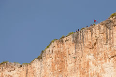 Base jump in shipwreck beach of Zakynthos island Stock Photos