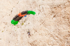 Base jump in shipwreck beach of Zakynthos island Royalty Free Stock Photography