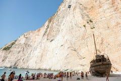 Base jump in shipwreck beach of Zakynthos island Stock Photo