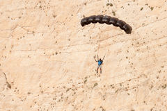 Base jump in shipwreck beach of Zakynthos island Royalty Free Stock Image