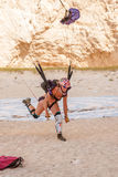 Base jump in shipwreck beach of Zakynthos island Stock Image