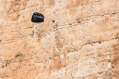 Base jump in shipwreck beach of Zakynthos island Stock Images