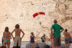 Base jump in shipwreck beach of Zakynthos island Royalty Free Stock Images