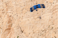 Base jump in shipwreck beach of Zakynthos island Stock Photo