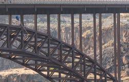 Base Jumper Leaps from Perrine Bridge Royalty Free Stock Photo