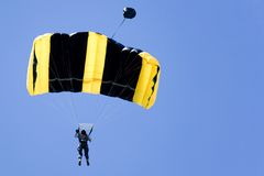 Base Jumping. Image of a daring base jumper in action Stock Photo