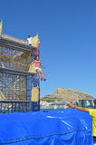 Base Jumping Competition. Another competitor leaves the jumping platform Royalty Free Stock Photo
