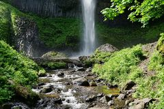Base of Latourell Falls closeup in spring on a sunny day Royalty Free Stock Photos